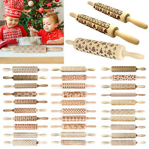 Christmas Baking Cookies Cake Wooden Embossing Rolling Pin Roller KItchen Tool