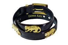 "Donna Katz Black Fashion Leather 31"" Belt with Gold Cheetahs Size M"