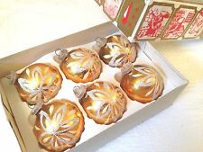 "Box 6 Plastic Cap HP Gold Decorated W German 2.5"" BALL Christmas Ornaments Vtg"