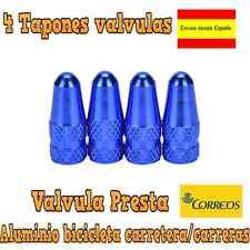 4 TAPONES AZUL VALVULA ALUMINIO VALVULA PRESTA / BICICLETAS CARRETERA/CARRERAS
