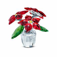 Swarovski Crystal Figurine, Joyful, Sparkling Poinsettia, Red & Green, 5538626