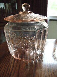 "Vtg Depression Glass Hocking Mayfair ""Open Rose"" Pink Cookie Jar with Lid NICE!!"