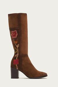 Frye Womens Nova Flower Tall Knee High Boots Size 10 B Brown Suede Side Zip