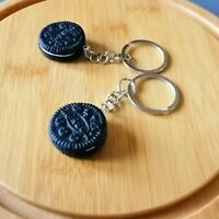 CIRCULAR CREAM BISCUIT NOVELTY KEYRING KEYCHAIN LED BRIGHT TORCH TOY GIFT