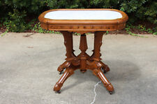 Fancy Large Ornate Burl Walnut Victorian Marble Top Table with Hoof Feet Ca.1870