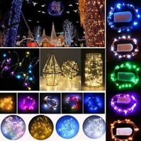 10/20/30 LED String Battery Operated Copper Silver Wire Fairy Lights Xmas Party
