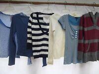 lot 6 knit longer length shirt sweater Jr M stripe nautical hoodie A&F Fang MINT