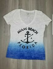 NWOT Miami Beach Ladies Blue & White T-Shirt Womens Size XL
