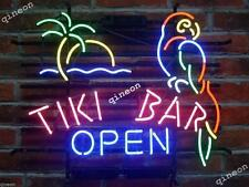 Rare New Style The Tiki Bar is Open Parrot Bird Beer Bar Real Neon Light Sign