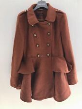 MISS SELFRIDGE BOUCLE RUST ORANGE/ TABACCO SKIRTED COAT SIZE 14 RRP £75