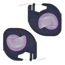 2PK Compatible For DYMO LetraTag LT100H 16952 Plastic Label Tape Black on Clear