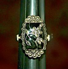 Vintage Sterling Silver, Onyx and Marcasite Ring size 6