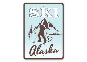 Ski Alaska, Skier Gift Sign, Ski Lodge Sign, Mountain Lodge Aluminum Sign