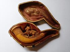Antique 1900's MEERSCHAUM Carved Pipe Running Dogs w/ Mouthpiece & Leather Case