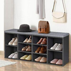Shoe Storage Bench Rack Organizer Entryway Tier Shelf 10 Compartments Entryway