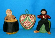 Vintage Lot of 3 Pin Cushions - 2 Celluloid Dutch Doll Figures & Hand made Heart