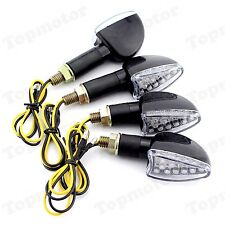 4pcs Universal Motorcycle Sportbike Black LED Turn Signal Indicators Amber Light