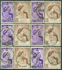 EDW1949SELL : SINGAPORE 1948 Scott #21-22 Silver Wedding 6 sets VF Used Cat $332