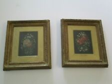 PAIR ANTIQUE OIL PAINTING 19TH CENTURY FLORAL ON STONE JULES LAURENS??? ORNATE