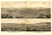 1877 Map Bird's-eye View of Los Angeles LA California Vintage History Art Poster