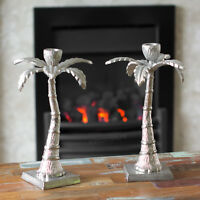 2 x Silver Palm Tree Tapered Candle Sticks Holders Candlesticks Wedding Table