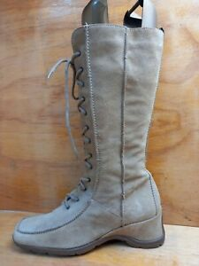 NEXT Womens Beige Suede Laced Zip Mid calf Drivers Boots UK 6.5 EUR 40