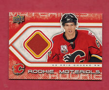 2009-10 UPD # RM-KC FLAMES KRIS CHUCKO ROOKIE MATERIALS JERSEY CARD