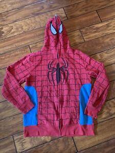Mad Engine Marvel Spiderman Hoodie Mask Costume Zip Up Sweatshirt Men's Medium
