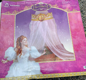 Kids Bed Canopy Disney Enchanted Pink Net Print Crown Top Hanging New Old Stock