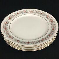"Set of 4 VTG Salad Plates 8 1/4""  Mikasa Grosvenor Petite Bone Rust & Gray Japan"