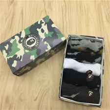 5 Pairs WITH BOX Men's A BATHING APE Camo SOCKS BAPE Monkey Head Cartoon Socks