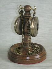 WOODEN DOUBLE POCKET WATCH STAND DARK OAK WOOD HANGER DISPLAY WOOD HOLDER UNIQUE