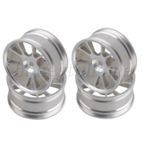 Silver Aluminum Alloy 10-Spokes Wheel Rim for RC1:10 On-Road Racing Car Set of 4