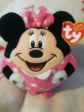 Ty Beanie Ballz Minnie Mouse Plush stuffed Round Ball Pink Disney