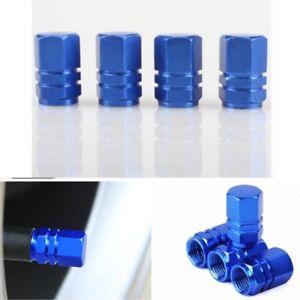 Blue Aluminium Car Tire Valves Decorate Covers Trim 4PCS/SET Auto Accessories