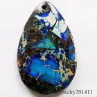 Beautiful Blue Sea Sediment Jasper & Pyrite Teardrop Pendant Bead D0075166
