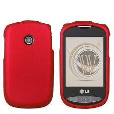 Rubberized Hard Case for LG Cookie Style 800G - Red