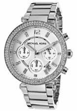 Michael Kors MK5353 Parker Silberfarben Chronograph Kristall Pave Armbanduhr Neu