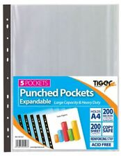 5 Expandable Punched Pockets A4 Large Folding Gusset Plastic Wallets Clear Files