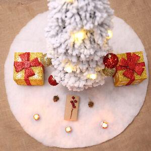 White Plush Christmas Tree Skirt Carpet Merry Christmas Decor New Year Decor _ZY