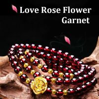 Charm 6mm Natural Wine Red Garnet Rose Bracelet Bangle Buddha Beads Women Prayer