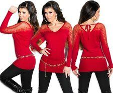 Sexy Longpulli Pullover Longpullover Strickkleid Strass Spitze Schnürung Sweater