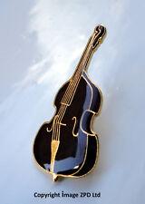 ZP281 Jazz Blues RnR Rockabilly Psychobilly Bluegrass Folk Double Bass Pin Badge