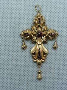 Altes großes 585er Goldkreuz mit Granatrosen besetzt