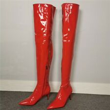 Runway Women Overknee Long Boots Patent Leather Mid Heel Pointed Toe Shoes 35-46