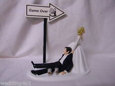 Wedding Reception Party ~Game Over Sign~  Beer Cans Drunk Groom Cake Topper