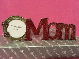 RED SPARKLY MOM Picture Frame FREE STANDING by Spoontiques   NEW - FREE SHIPPING