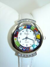 With White Croco Leather Band - Nwt Gorgeous Murano Glass Watch Made In Italy