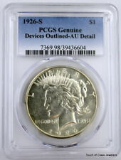 1926-S Peace Silver Dollar graded Genuine Devices Outlined-AU Details by PCGS