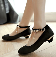 Women's Beads Decor Low Heel Ankle Strap Mary Janes Lolita Dress Shoes Plus Size